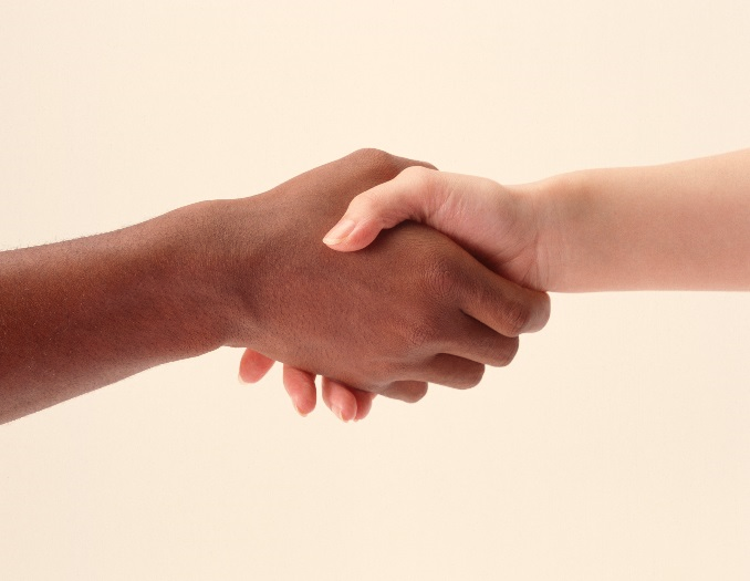 an image of people shaking hands- only the hands are showing.