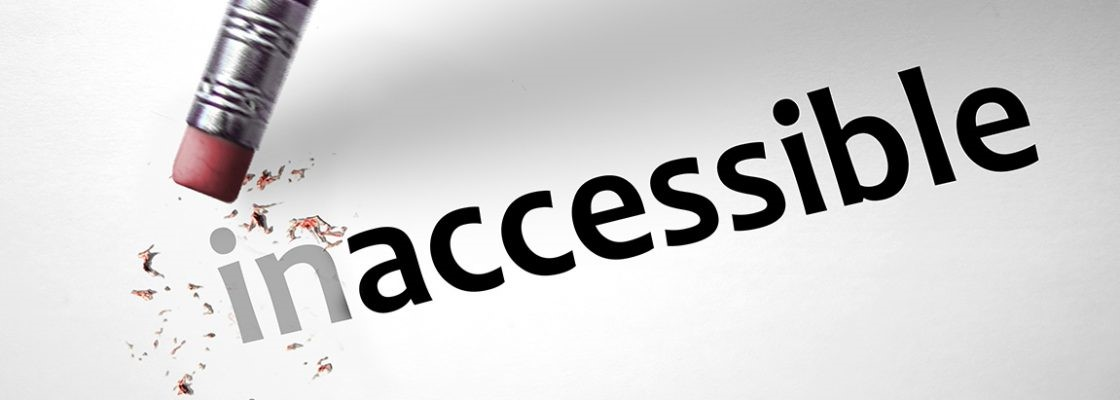 "an image showing the word ""inaccessible'- an eraser is removing aprt of the word so it reads ""accessible"""