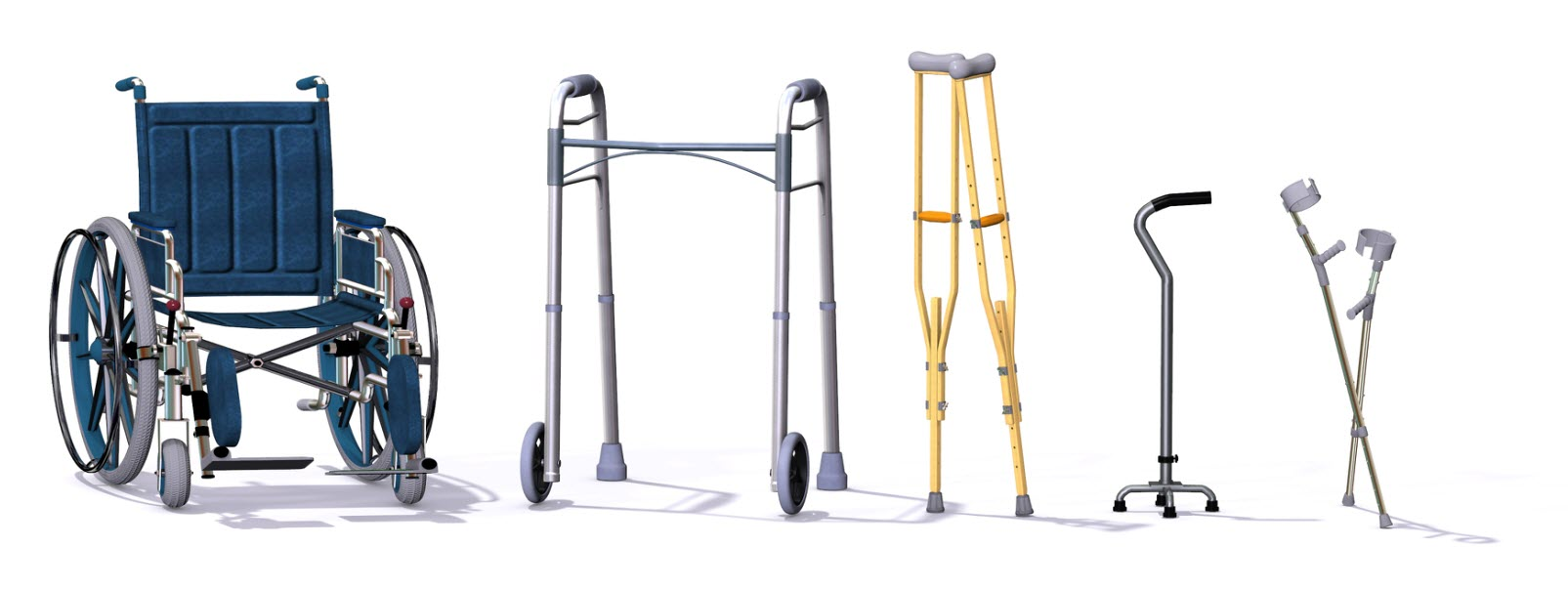 Image showing selection of equipment- wheelchair, walker, cane and crutches.