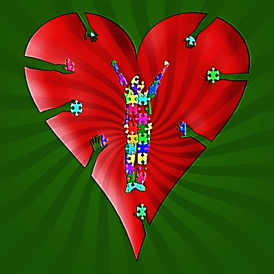 image- red heart shape on a green background- the shape of a person using puzzle shaped pieces is in the center of the heart.